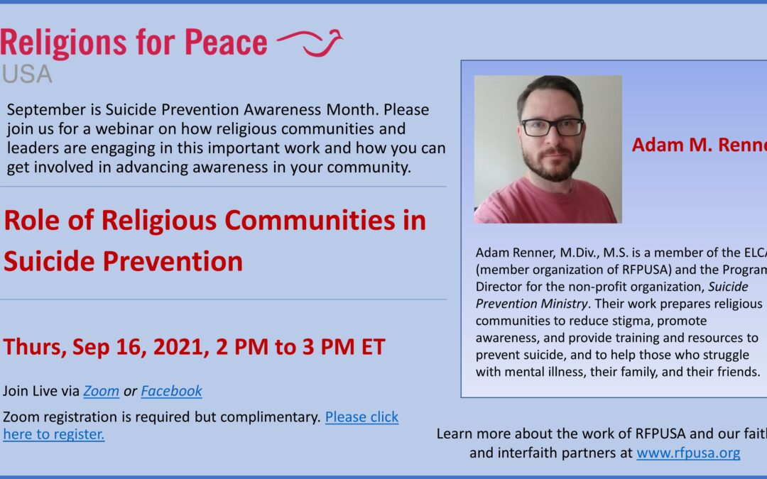 Sep 16 – Role of Religious Communities in Suicide Prevention